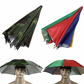 a09b4acefb6ba Buy Generic Colorful   Portable Umbrella Hat Sun Shade Camping Fishing  Hiking Festivals Outdoor Hands Free Parasol Cap Tackle Tool Online at Low  Prices in ...