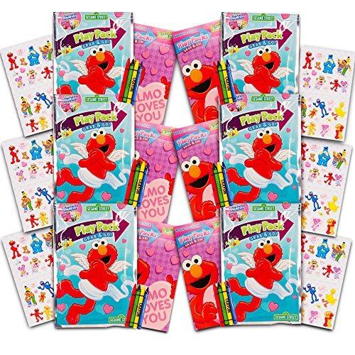 Sesame Street Elmo Ultimate Party Favors Packs -- 6 Sets with Stickers, Coloring Books and Crayons (Party Supplies) (Street Games Sesame)