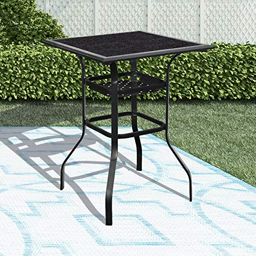 LOKATSE HOME High Outdoor Patio Bar Height Glass Top Table, Black (Glass Patio Top Table Leg Parts)