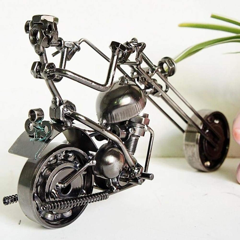 BeiMi Motorcycle Model Iron Craft/Iron Motorcycle Creative Motorcycle Modern Jewelry Photography Props Classic Collection Placed Office Family Bedside