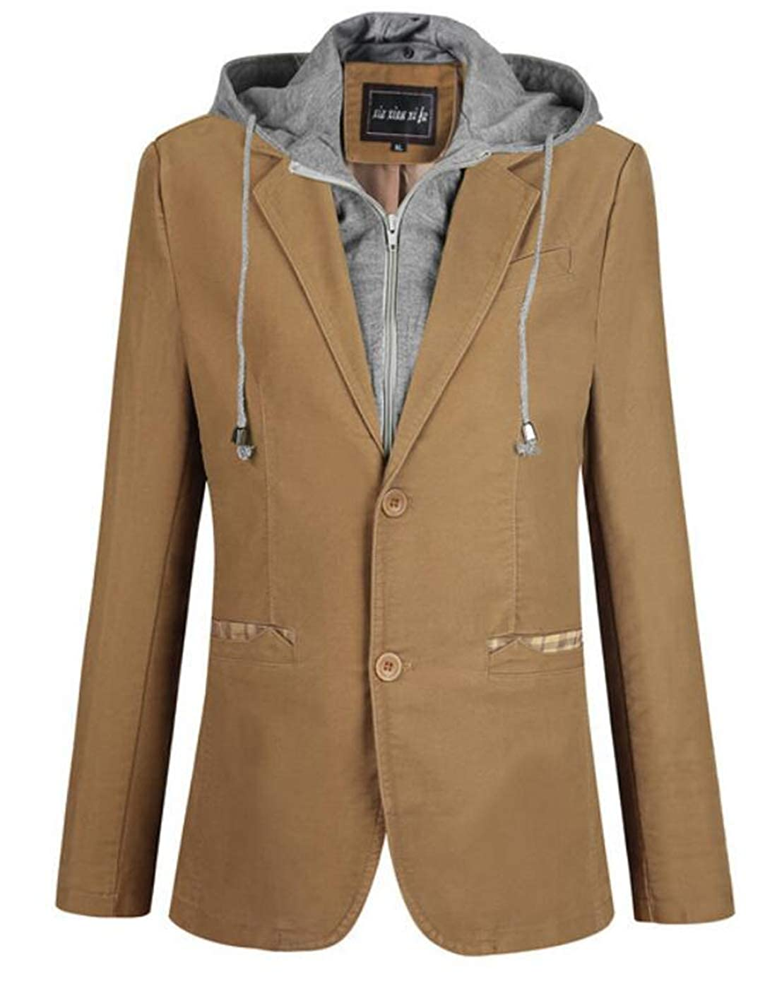 Hurrg Mens Long Sleeve Solid Hooded Drawstring Slim Fit Stylish Two Button Jackets Coat Blazer