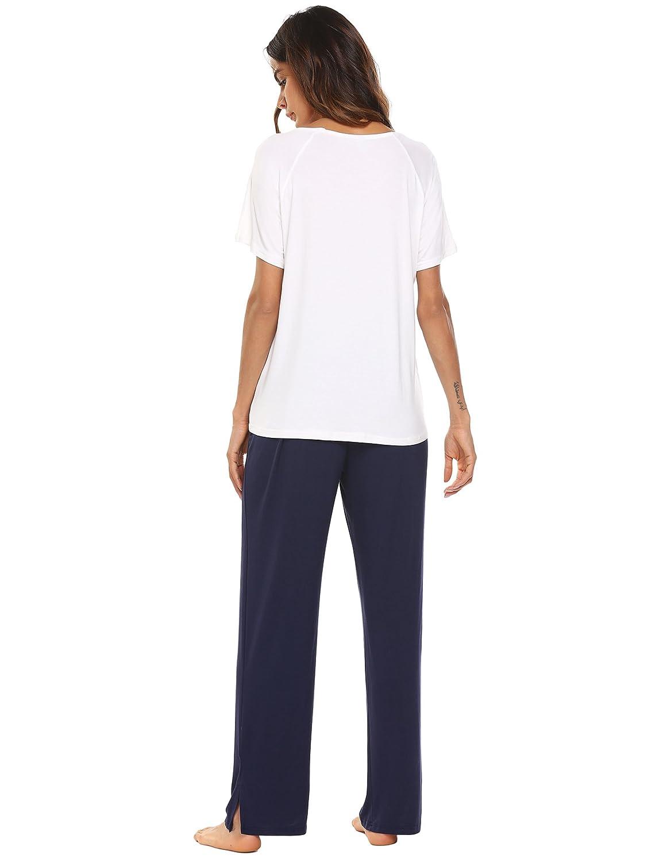 Ekouaer Sleepwear Women Pajamas Set Long Sleeve Contrast Color 2 Piece Sets with String Elastic Waist Long Pants