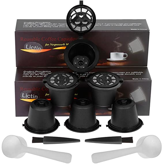 Lictin 6Pcs Cápsulas Filtros de Café Recargable Reutilizable para Nespresso