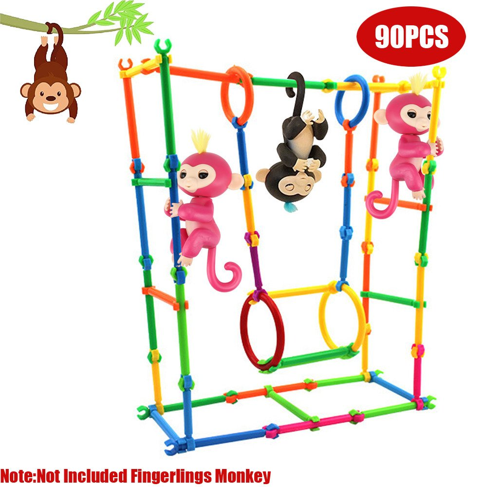 Ghazzi 90PCS Building Create Playground DIY House For Baby Developmental Intelligence Toy for Kids Puzzle Educational Learning Toy Growing Experiment Gift Toy Pretend Toy Toddlers Toy (Random Color)