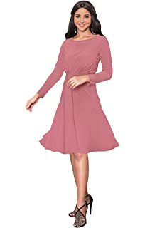 2632fca5679 KOH KOH Long Sleeve Semi Formal Flowy Party Work Knee Length Midi Dresses