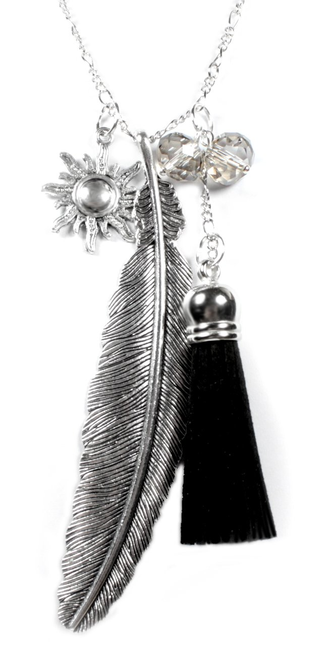 Beautiful Silver Jewelry Feather and Sun Charm Necklace with Tassel on Silvertone 28 Inch Long Chain in Gift Box by Beautiful Silver Jewelry (Image #1)