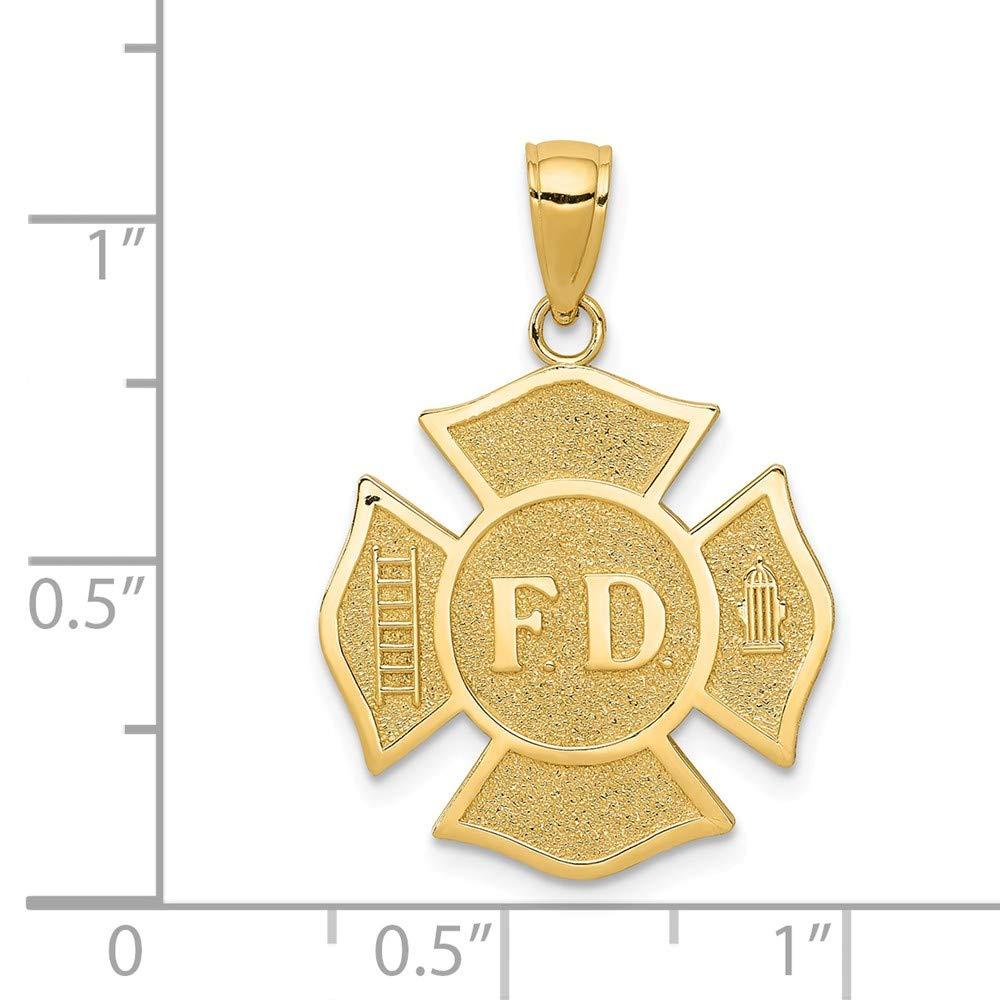 Mia Diamonds 14k Solid Yellow Gold Fire Department Badge Pendant 23mm x 20mm