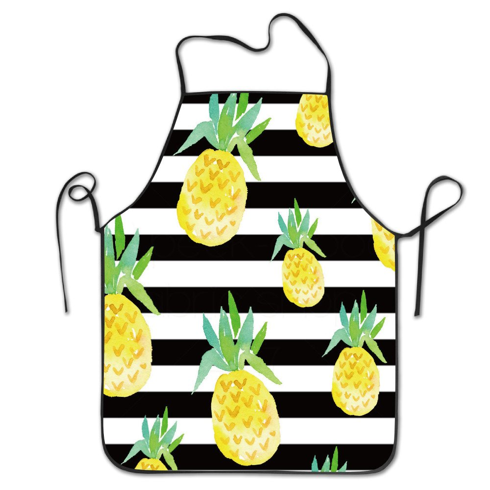 BRIGHT Unisex Pineapple Stripe Pattern Chef& Cook Kitchen Bib Apron Waterproof Perfect For Cooking, Baking, Crafting, BBQ