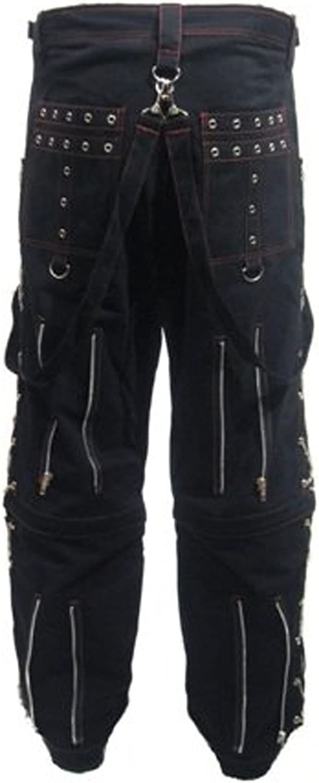Mens Unique Black and Red Stitch X-Chains Bondage Baggy Skater Trousers Pants