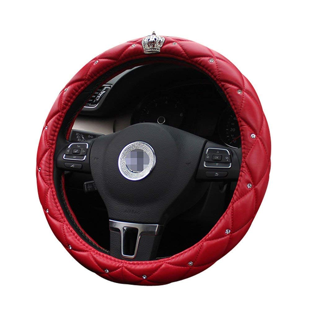 Soft Cdycam Non-slip Universal PU Leather Car Steering Wheel Cover with Crystal Crown Diamond,Durable Red 15 inch Size