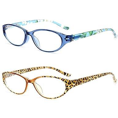 VEVESMUNDO Gafas de Lectura Mujer Hombre Flores Mini Pequeñas Bisagras de Resorte Presbicia Vintage Leer Graduadas Vista Leopardo Azul 1.0 1.5 2.0 2.5 ...