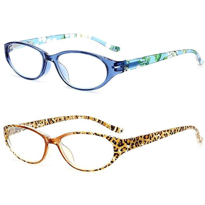 VEVESMUNDO Gafas de Lectura Mujer Hombre Flores Mini Pequeñas Bisagras de Resorte Presbicia Vintage Leer Graduadas Vista Leopardo Azul 1.0 1.5 2.0 2.5 3.0 ...