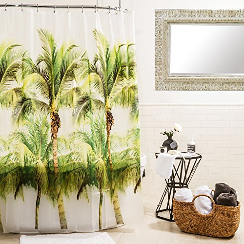 Vinyl Palm Tree Shower Curtain For Bathroom Showers and Bathtubs, Free of Pvc Chlorine and Chemical Smell-100% Waterproof, 70 x 72 Inch, Green