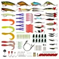 Goture Fishing Lures Set Including Soft Hard Fishing Lures Topwater Baits Minnow Popper Jig Heads Swivels and Other Fishing Gear Tools with Fishing Tackle Box for Saltwater and Freshwater
