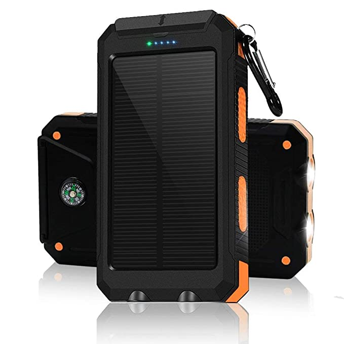 Solar portable phone charger. Waterproof lit solar power bank. Cargadores solares para celulares. Orange 30000 mah usb charger with flashlight for all ...