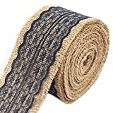 uxcell Burlap Apartment Wedding DIY Gift Wrapping Decor Decoration Craft Ribbon Roll Navy Blue