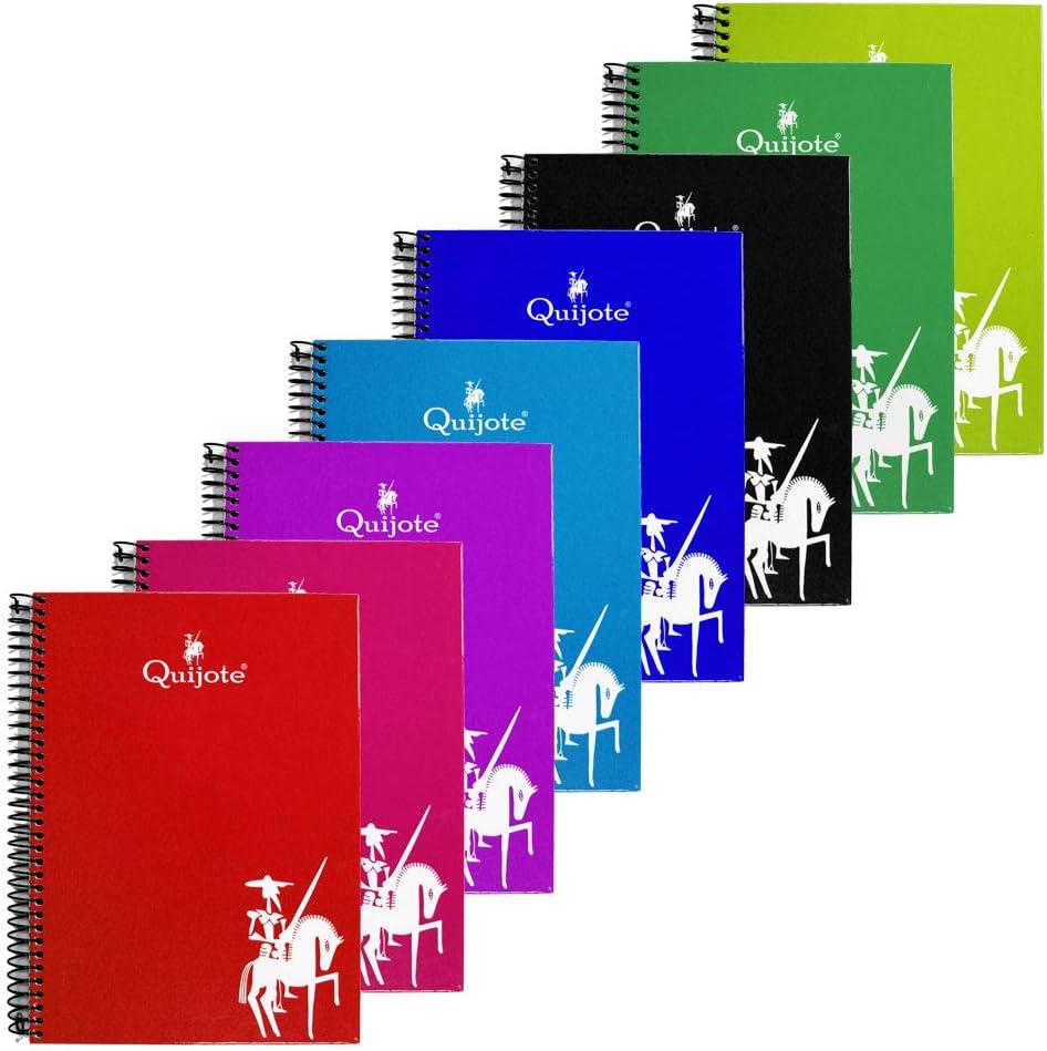 CL0515 - Pack de 8 Cuadernos tapa forrada, tamaño A5, 80 hojas cuadriculadas 4x4mm, hojas de 90gr, colores variados: Amazon.es: Oficina y papelería