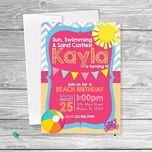 amazon com beach birthday invitations girls birthday invitation