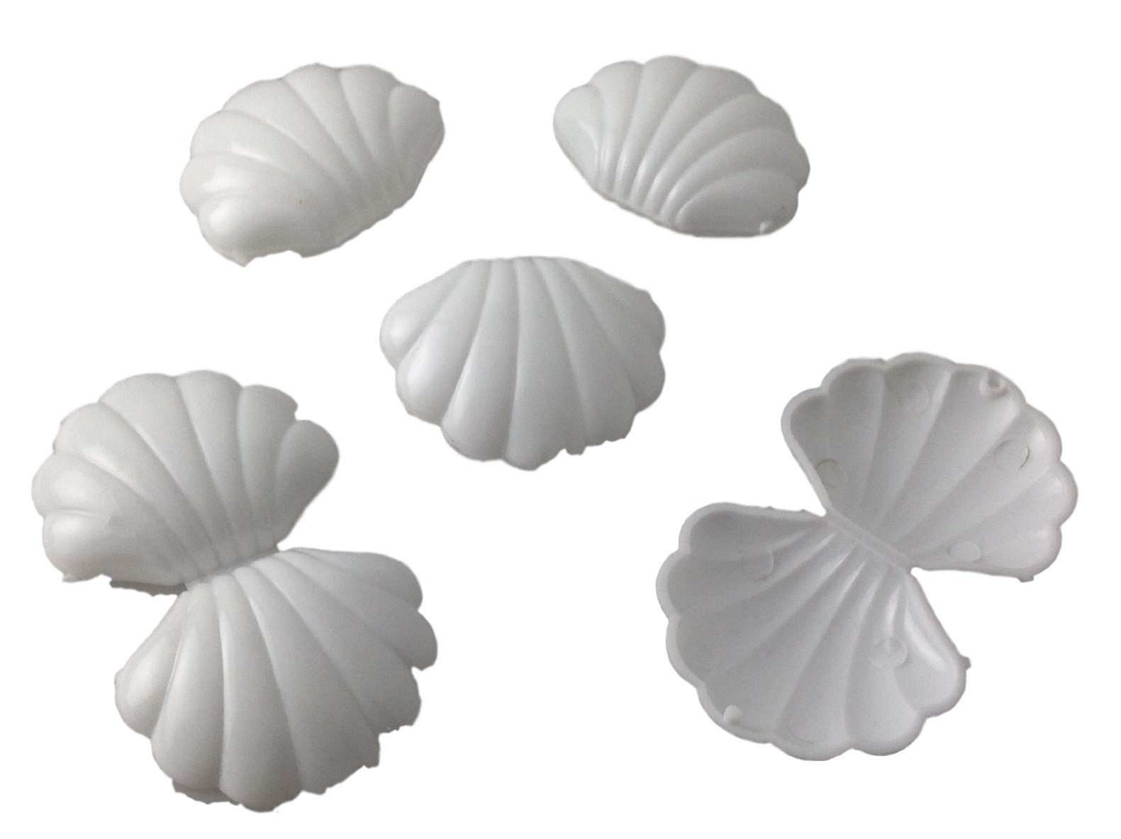 NST 144 Mini White Plastic Shells Candy Favor Boxes for Showers and Birthdays