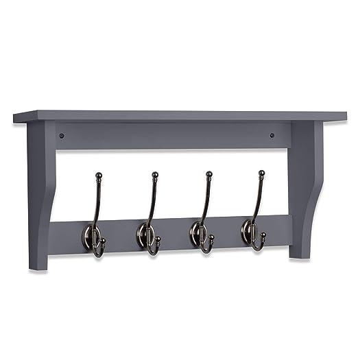 Perchero de madera con estante y 4 ganchos, color gris ...