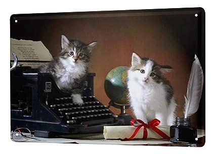 Cartel Letrero de Chapa XXL Raza De Gato Cachorro Gatito máquina de escribir