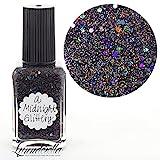 Lynnderella Micro Glitter Black Holographic Nail Polish—A Midnight Glittery