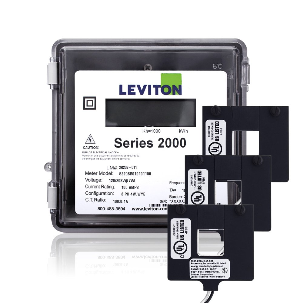 Leviton 2O480-4W Series 2000 277/480V 3P4W 400A Outdoor kWh Meter Kit with 3 Split Core CTs