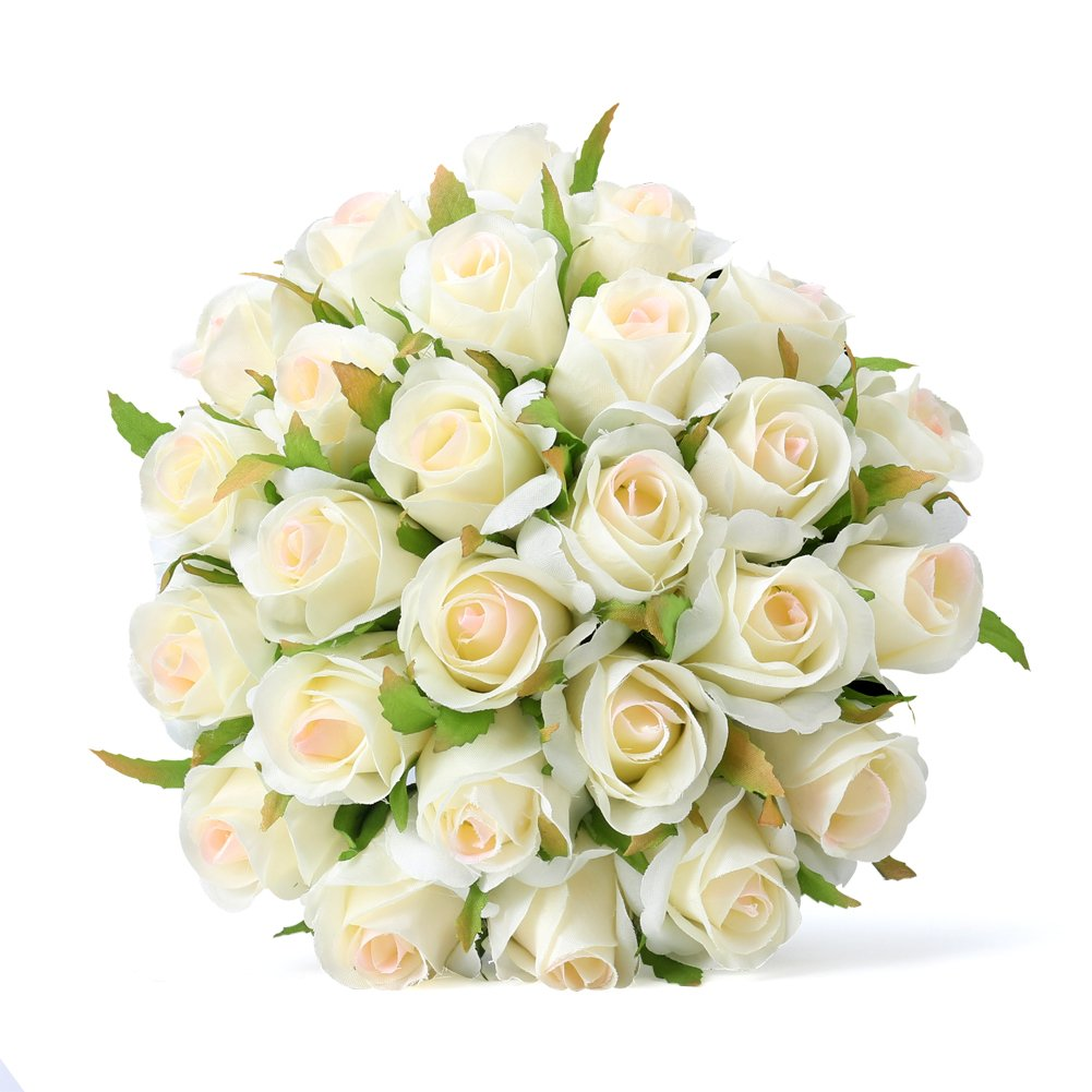 Amazon.com: Easin Artificial Bridal Bouquets Wedding Rose 26heads ...