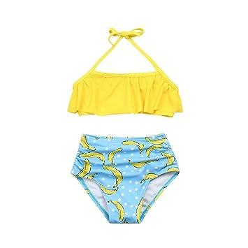 8061b761905 Mädchen Bikini Yesmile Kinder Baby 2 Stück Bikini Set Kinder Niedlich  Ärmellos Halter Neck Monokini Blumenmuster