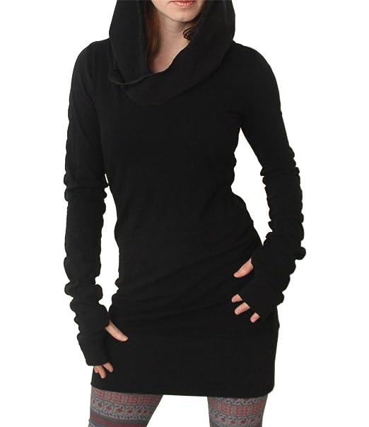 COCO clothing Otoño Casual Vestido Mini les Mujer Manga Larga Short Bodycon Dress con Capucha Sudaderas