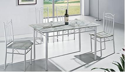 Tavolo da cucina, moderno, effetto marmo con 4 sedie, 5 pezzi ...