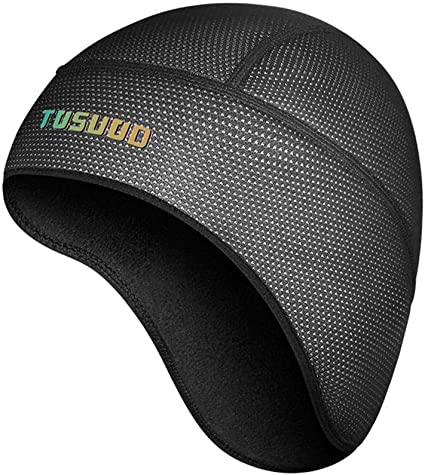 Windproof Headwear Helmet Liner Skull Cap with Ear Covers Protector Dark Gray