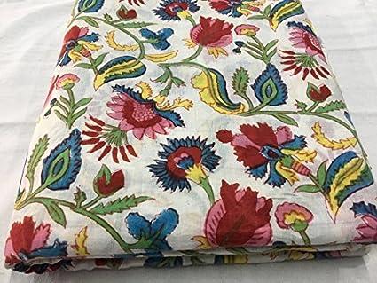 Meera Handicrafts Flower Jaal Printed Fabric Hand Block Printed