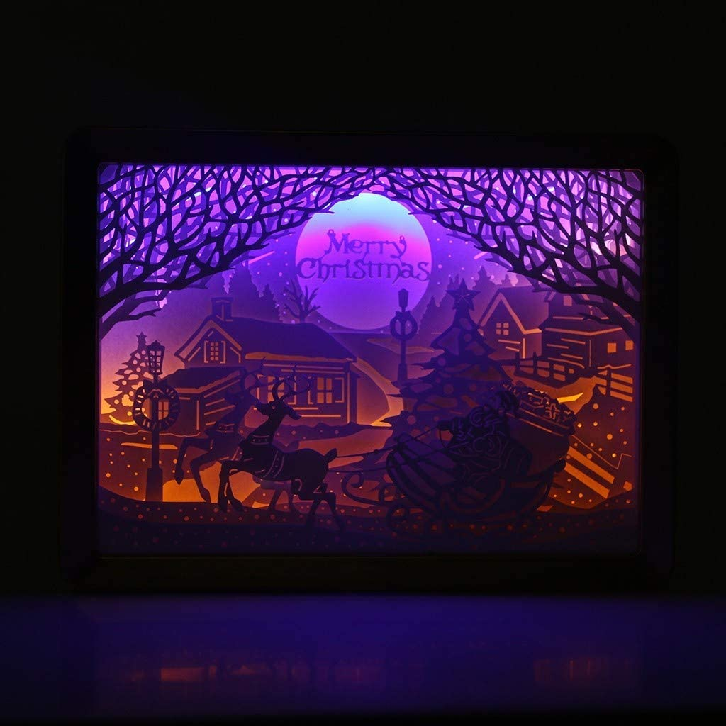 MAMaiuh Christmas Decorations Paper-Cut Light Box, 3D Paper Carving Night Light USB Charging Paper Sculpture Lamp Nightscape Table Lamps Shadow Boxes Frame for Nursery Bedroom Holiday Party Decor