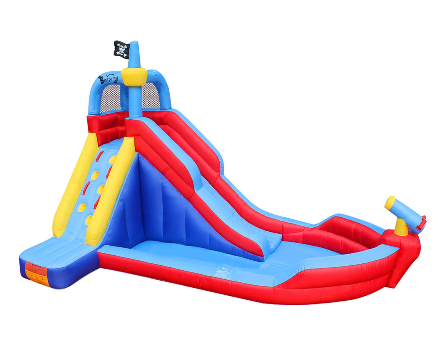RETRO JUMP Inflatable Pirate Boat Bouncy Water Slide with Blower Climbing Wall Water Park for Kids by RETRO JUMP (Image #1)