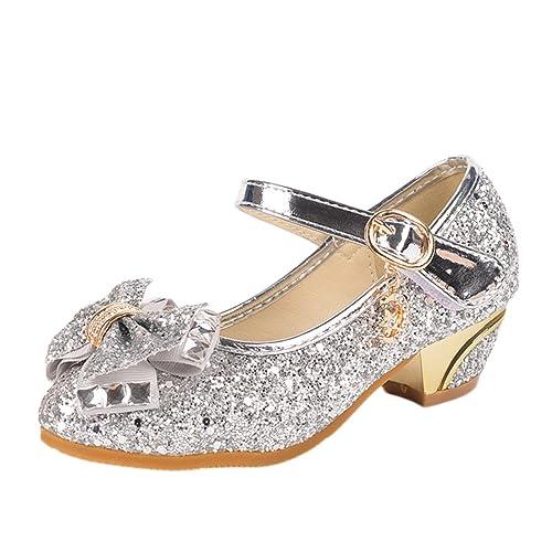 726025576e2a Yy.f YYF Fille Ballerine Chaussures à Talon à Déguisement Princesse avec  Nœud Paillettes pour