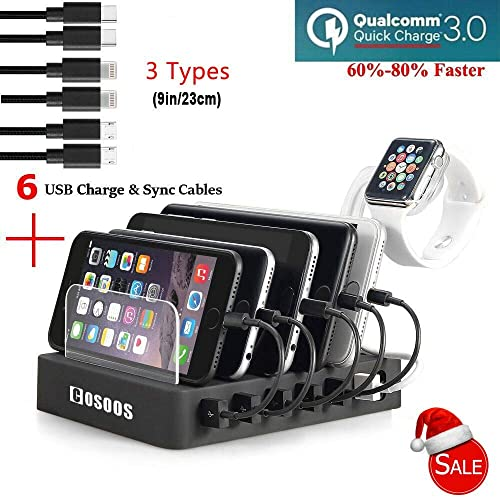 COSOOS Fastest Charging Station with QC 3.0 Quick Charge,6 USB Cables(3 Types