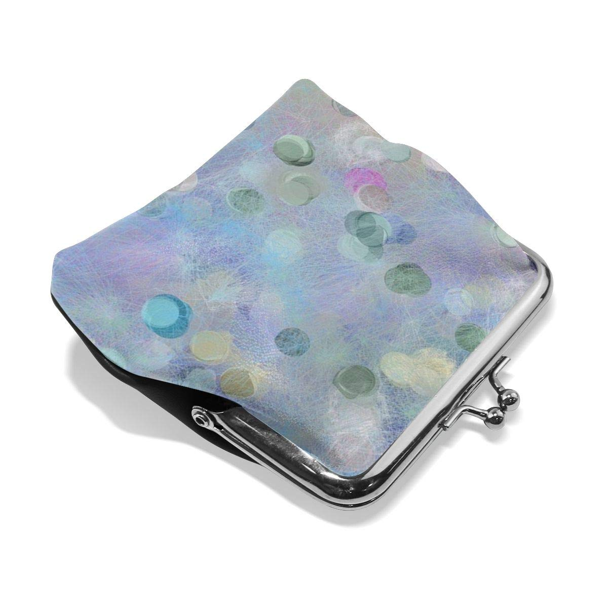 Poream Geometric Soft Abstract Blue Red Purple Personalized Retro Leather Cute Classic Coin Purse Clutch Pouch Wallet For Womens