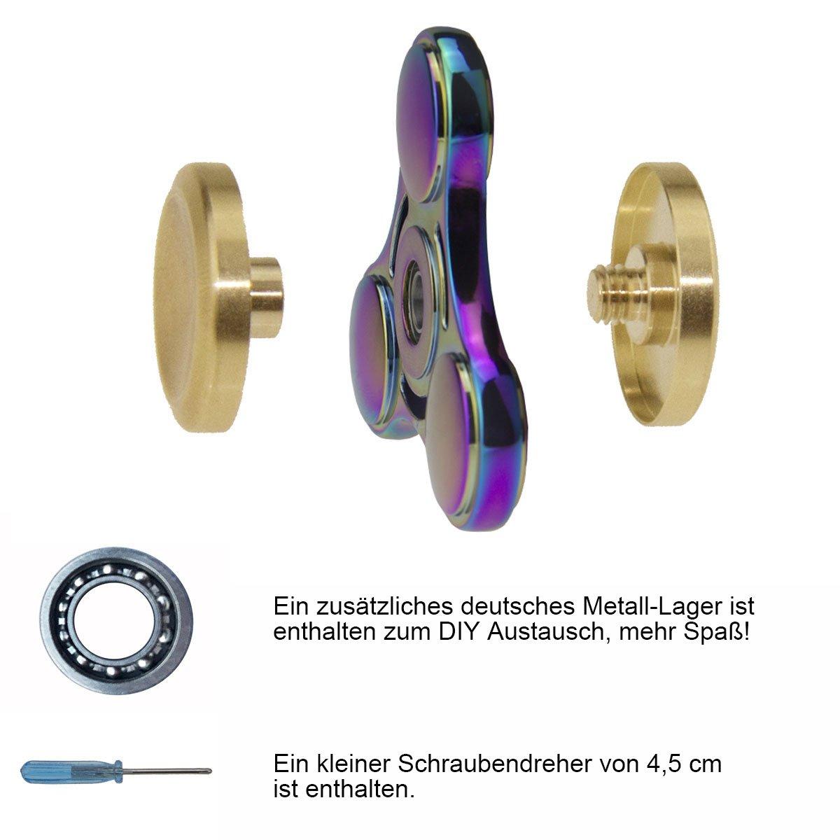 Mano Fidget Spinner Multicolor Multicolor Rainbow, 8 minutos Deutsche Almacén spinnere metal, dedos Tip Gyro EDC Tri Spinner (redondas): Amazon.es: Juguetes ...