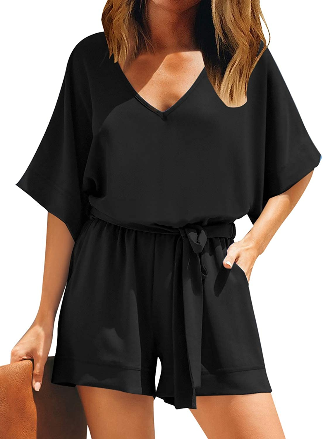 LookbookStore Women Mesh Panel Bell Sleeve Self-Tie Belted Short Romper Jumpsuits