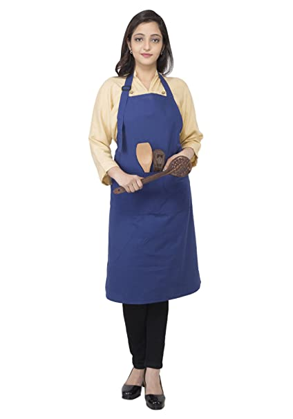 RAJRANG Blue Apron 100% Cotton with Adjustable Neck with Pockets for Women and Men Chefs Apron for Cooking and Stylish Look 89 x 67 cm Kitchen Aprons