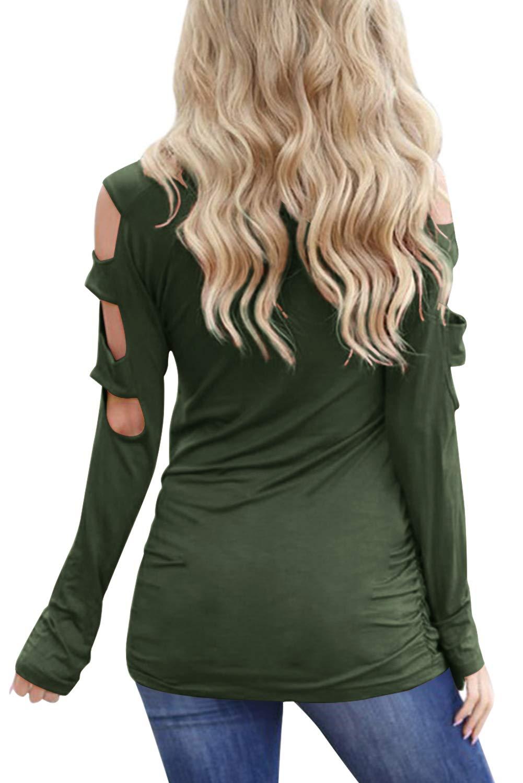 Eanklosco Damen Lange Ärmel V-Ausschnitt Kalte Schulter Ausgeschnitten T-Shirts Beiläufig Tunika Tops (S, Armeegrün)