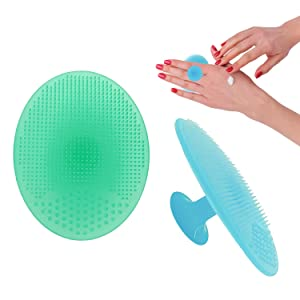 Facial Cleansing Brush,Soft Food Grade Silicone Face Scrubber,Facial Scrub for Massage Pore Cleansing Blackhead Removing-Gentle Exfoliation and Deep Scrubbing (blue,green)