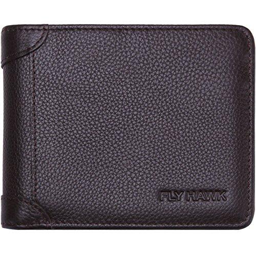 FlyHawk Genuine Leather RFID Blocking Wallets Mens thin - Wallet Travel Cowhide