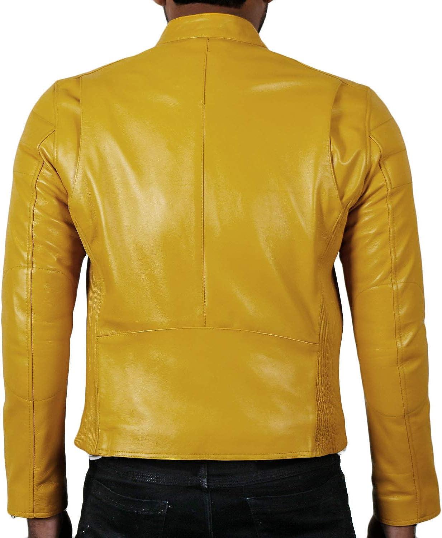 Lasumisura Mens Black Genuine Lambskin Leather Jacket 1510008