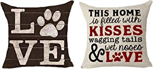 Queen's designer 2 Piece Set Saying This Home is Filled with Kisses Wagging Tails Wet Noses and Love Dog Claw Animal Cotton Linen Decorative Throw Pillow Case Cushion Cover Square 18
