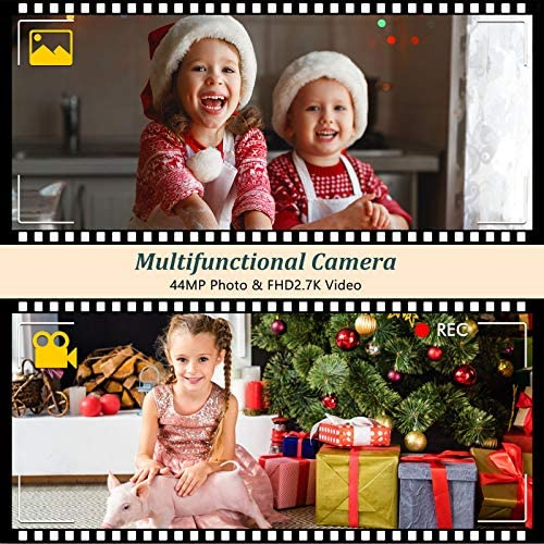"Digital Camera HD 2.7K 44 MP Vlogging Camera with Webcam, Point & Shoot Digital Camera with 2.88"" IPS Screen, 16X Digital Zoom, 2 Batteries, Gift for Birthdays,Christmas,Thanksgiving Days - Pink"