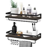 Homemaxs Floating Shelves Wall Mounted,Multifunctional Bathroom Shelf with 2 Towel Holders & 4 Extra Hooks - Set of 2…