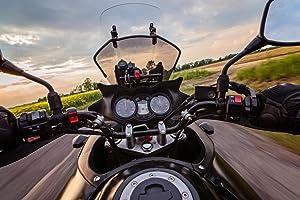 Speeding Motorcycle Cruising Country Road Photo Cubicle Locker Mini Art Poster 12x8