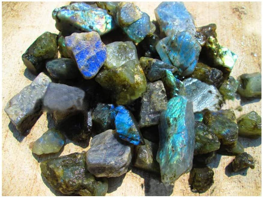 Natural Quartz Labradorite Crystal Point Healing Stone Crafts Specimen Decor